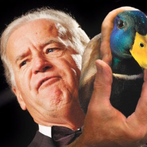 Joe Biden with mallard