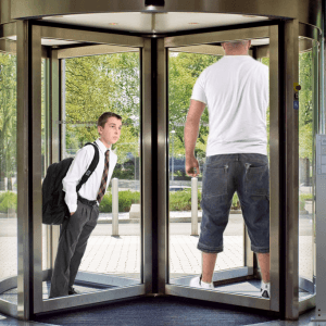 sc 1 st  The DailyER & Student trapped in revolving door by large strong man