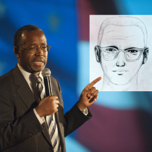 Dr. Ben Carson standing with photo of the Zodiac Killer